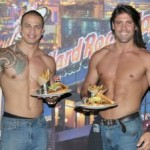 two male strippers and burger
