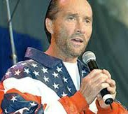 country singer in flag shirt