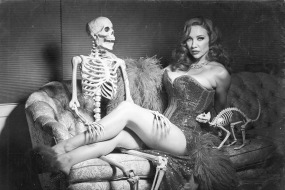 skeleton and sexy lady