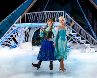 two princess ice skaters and bridge