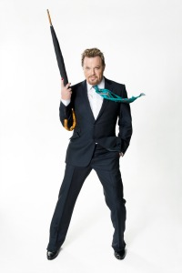 comedian with gun