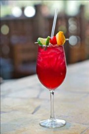 red fruity margaria with straw