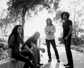 black and white shot of rockers