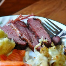 corned beef and fork on plate