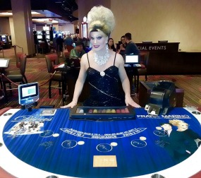 drag queen at table