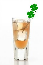 irish whiskey drink with green clover