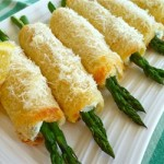 asparagus in baked bread