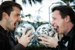 two men with globes