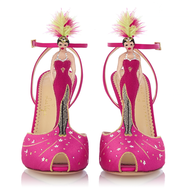 pink strap shoes with dolls
