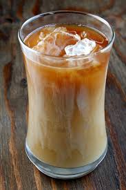 glass with iced coffee
