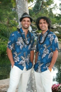 two men in Hawaiian shirts