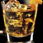 scotch on the rocks in glass