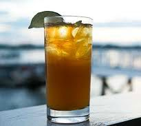 rum cocktail on dock table