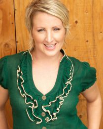 blonde in green blouse