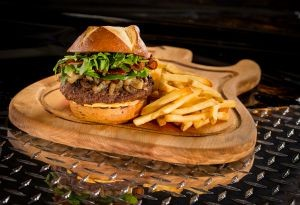 burger and fries on platter
