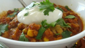 pumpkin chili with sour cream