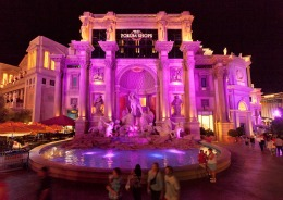 pink lit shopping mall exterior