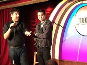 comedian on stage with cancer victim