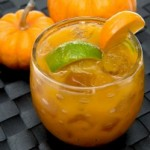 pumpkin cocktail with lime wedge