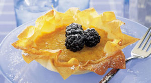 pumpkin tarts with blueberries