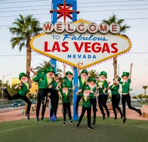 group leprechaun at Vegas sign