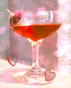 red cocktail with hearts