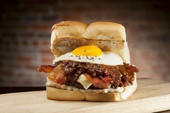 burger with egg and bacon