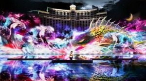 lighted fountains with dragon