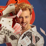 blond man with cards
