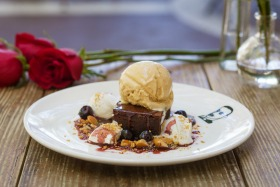 decadent ice cream and brownie dessert