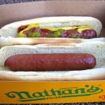two hot dogs in buns