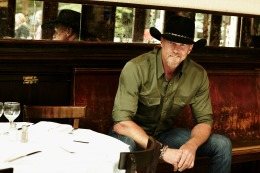 country singer at table