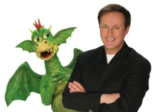 man and dragon puppet