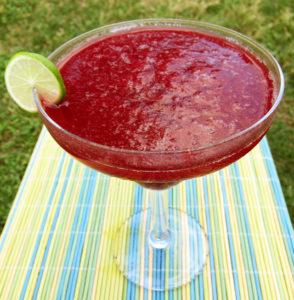 sangria on striped tablecloth