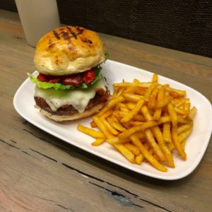 large burger and fries