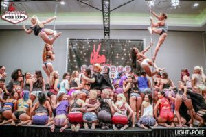 large group pole dancers