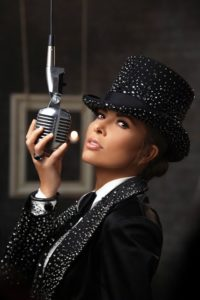 Hispanic singer in tophat