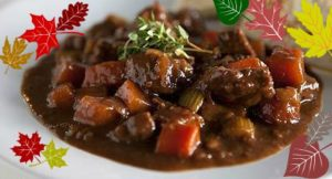beef stew with leaf deco