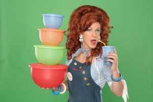 red haired woman with tupperware