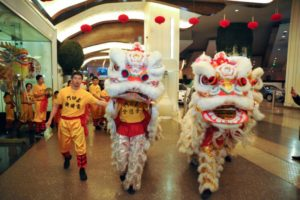 Chinese lion dancers
