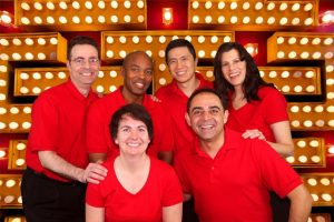 cardio team in red shirts