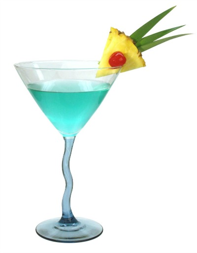 Blue cocktail with pineapple