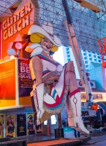 Vegas neon sign of woman