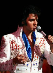 Elvis impersonator blue scarf