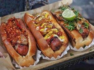 trio of hot dogs