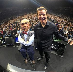 MAN AND MALE PUPPET
