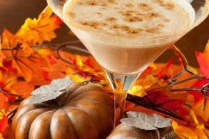 pumpkin martini and leaves