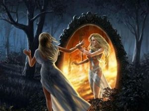 mythical woman and mirror