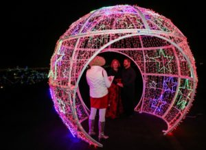 couple in lighted ball