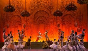 ballerinas on red stage